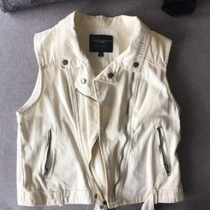 Cream vest with silver zippers